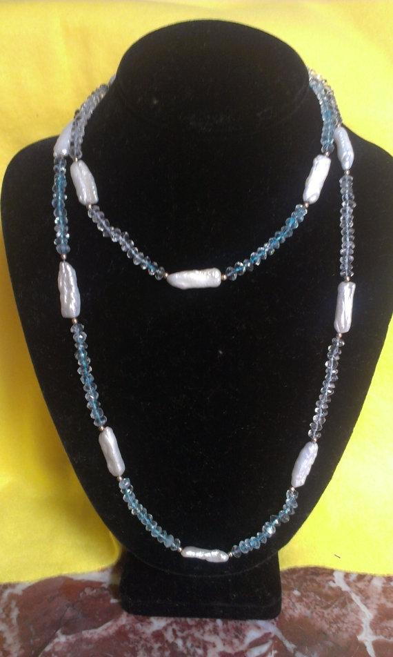 Beautiful Biwa Stick Pearl Aqua - jewelsbyvittoria | ello