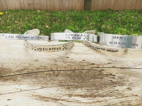 custom handstamped bracelets - youaremysunshine - themamabearco | ello