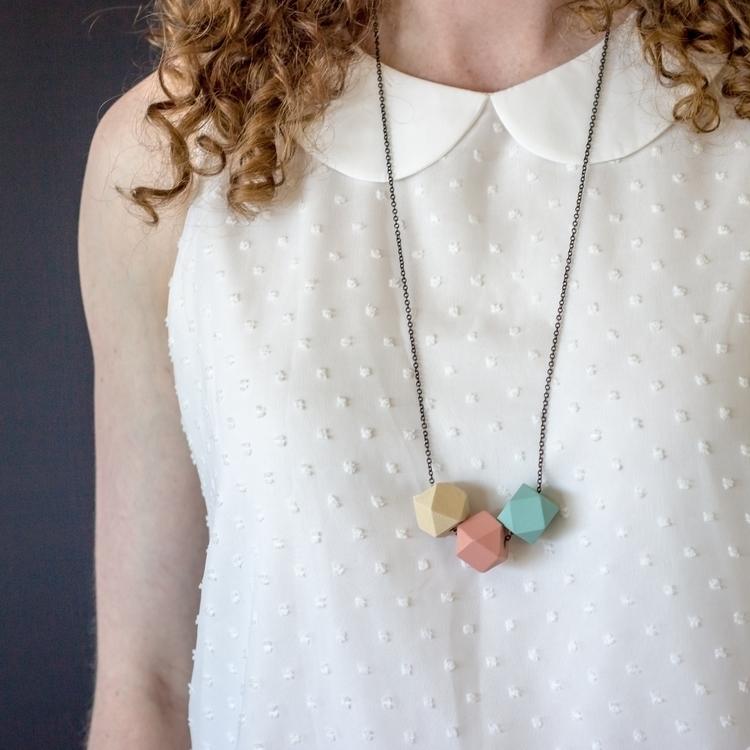 Geo Trio necklace peach mint. f - saidthewolf | ello