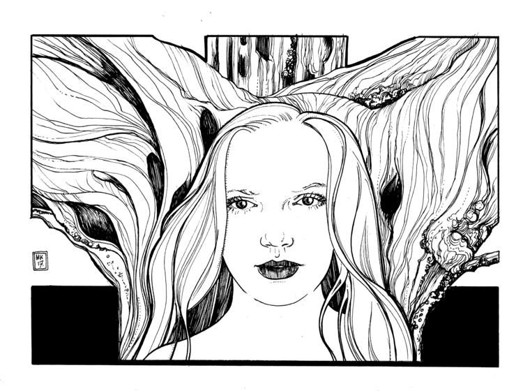 Dryad; ink bristol, 2017 - illustration - mollykiely | ello