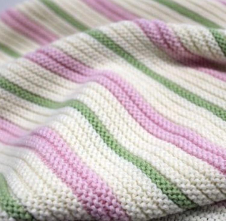 Garter Blanket Pink, Mint White - branberry | ello