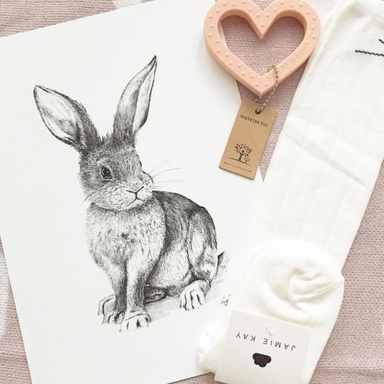 bunny love... Print Adore teeth - mustard_seed_art | ello