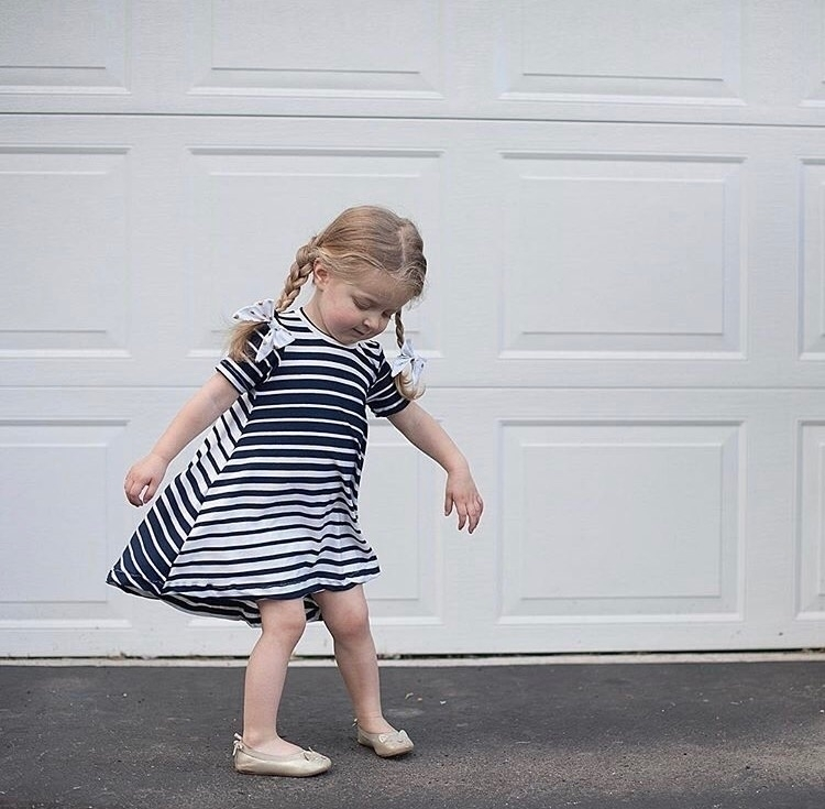 Navy nautical stripes twirling - hipkidapparel | ello