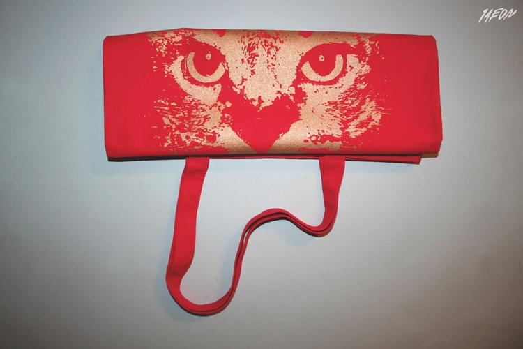 Red cat tote - red, gold, 1aeon - 1aeon | ello