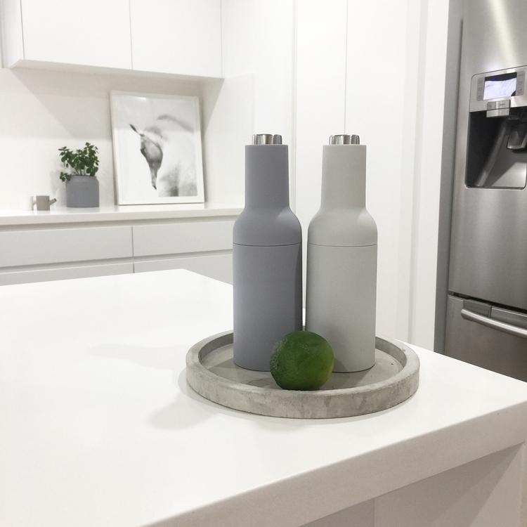 salt pepper mills aldi 🖤 - kitchen#design#whitekitchen#inspi#saltandpeppergrinders#simple#minimal#decor#homewares#greyandwhite#myhome#houseandhome#interior#styling - avani_collective | ello