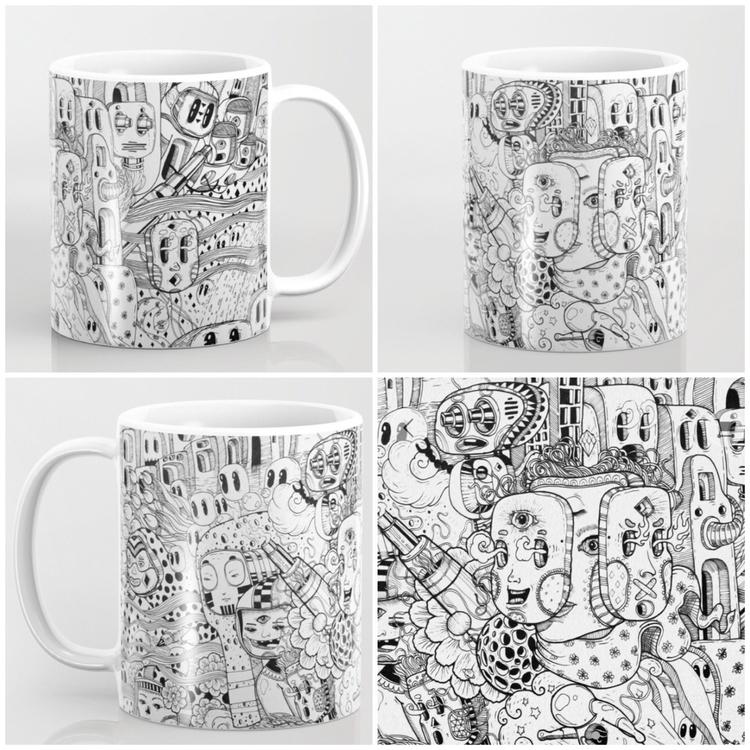 City rush mug - city, linework, fineliner - trinkl | ello