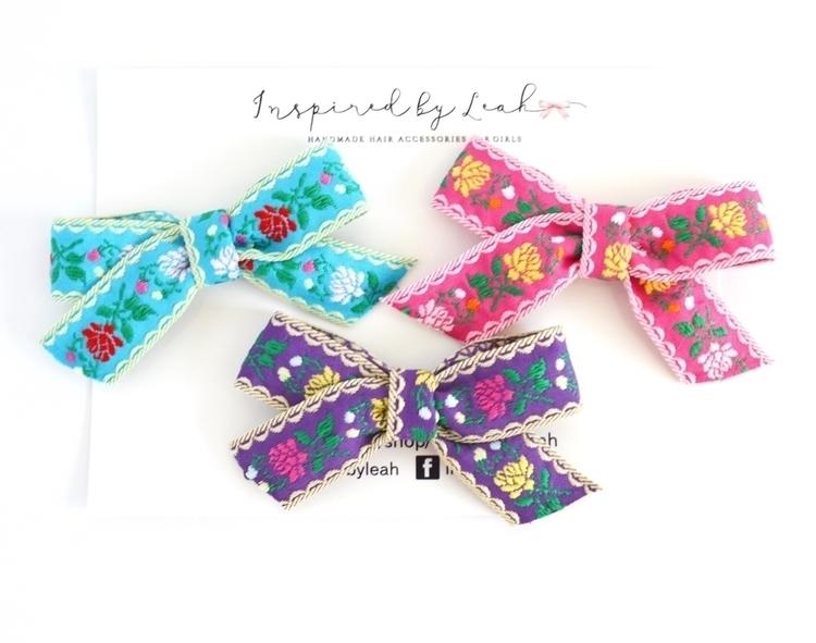 embroidered ribbon bows. fun co - inspiredbyleah | ello