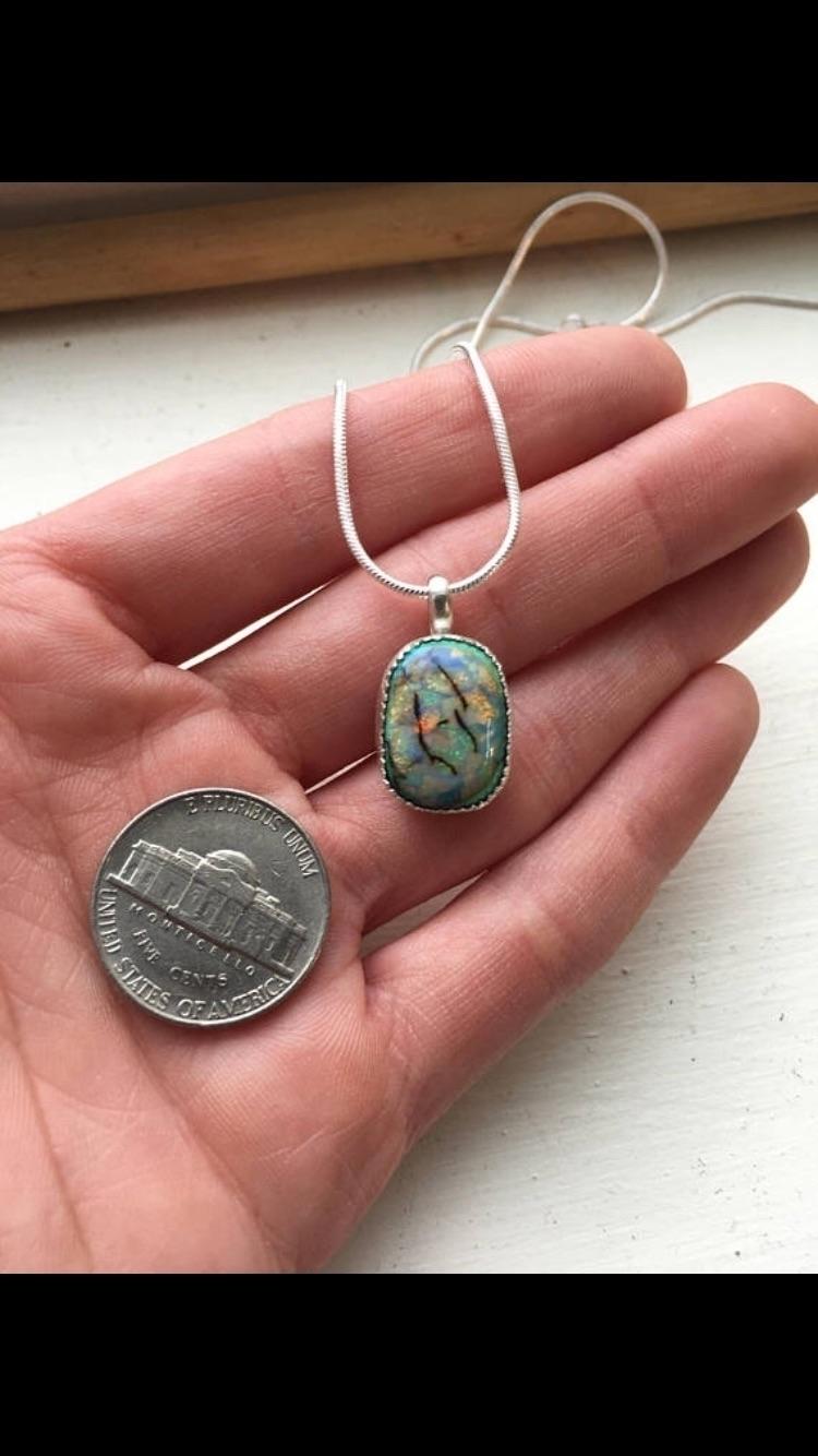 beautiful monarch opal pendant  - simplywrappedshop | ello