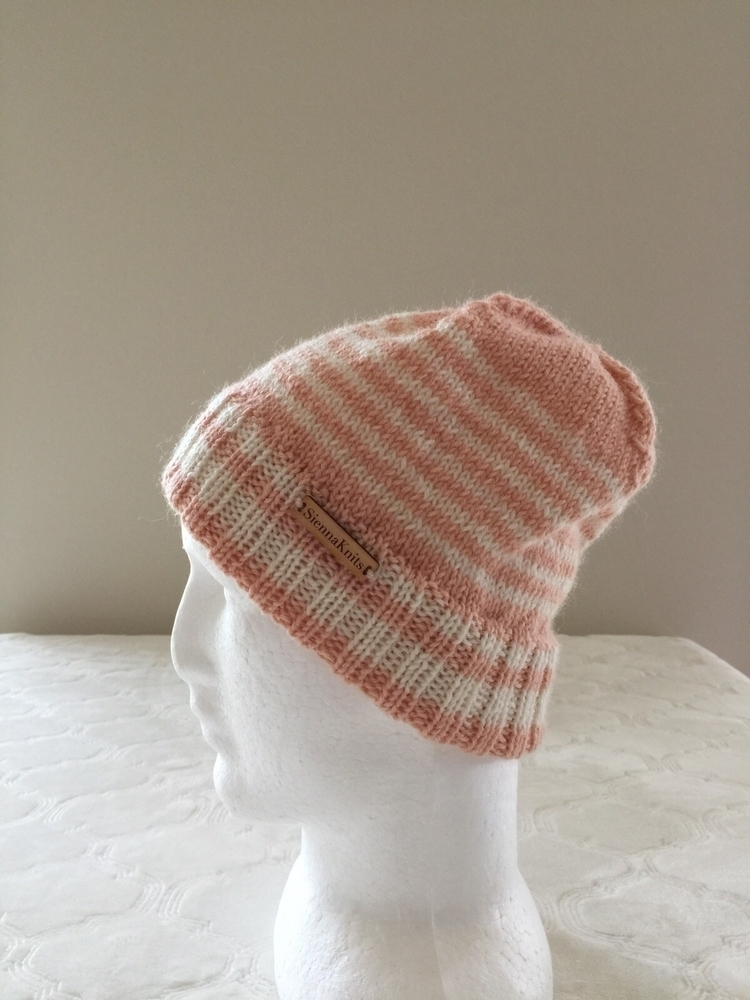 Double brim beanie, light peach - siennaknits | ello