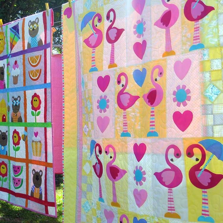 Dancing Flamingos. design quilt - theredbootquiltco | ello