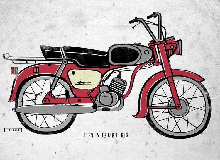 vintage bikes - lensch, illustration - clensch | ello