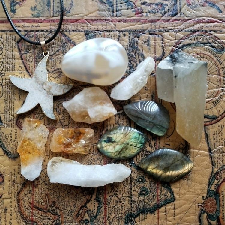 crystals, labradorite, fossilcoral - tiareina | ello
