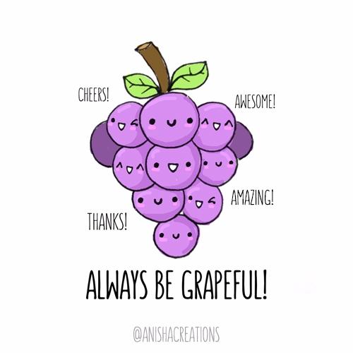 Grapeful - illustration, cute, food - anishacreations | ello