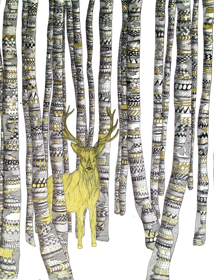 Golden Stag. Ballpoint Pen Gel  - ecmazurart   ello