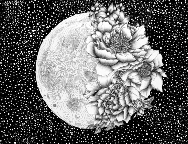 Moon Abloom. Ballpoint Pen. 201 - ecmazurart | ello