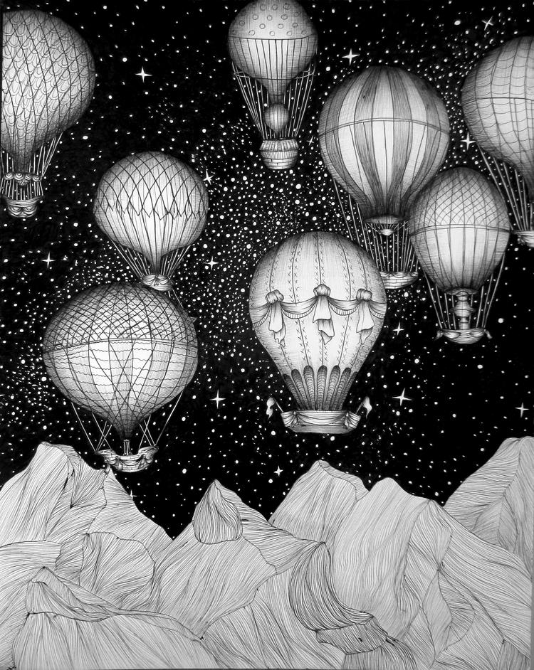 Night Flight. Ballpoint Pen. 20 - ecmazurart | ello