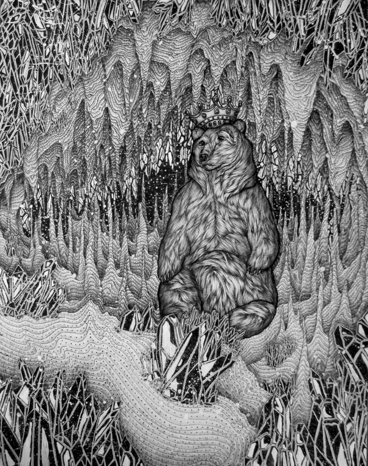 Cave Bear King. Ballpoint Pen.  - ecmazurart | ello