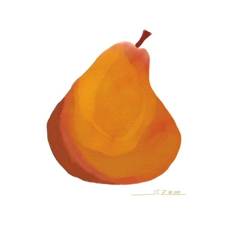 Pear - pear, fruit, sketch, digitaldrawing - leapingbluehare | ello