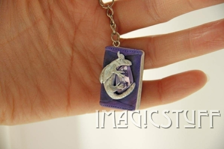 Dragon Book Keychain - dragon, book - i_magicstuff   ello