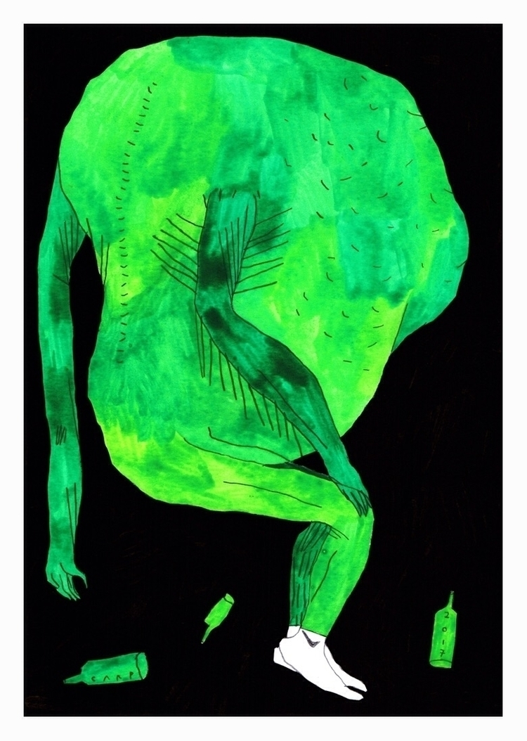 Green figure. 210x148mm, 2017 - art - carpmatthew | ello