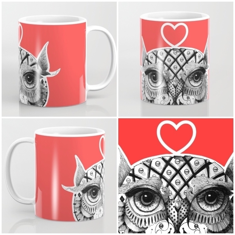 mug - owl, red, illustration, love - trinkl | ello