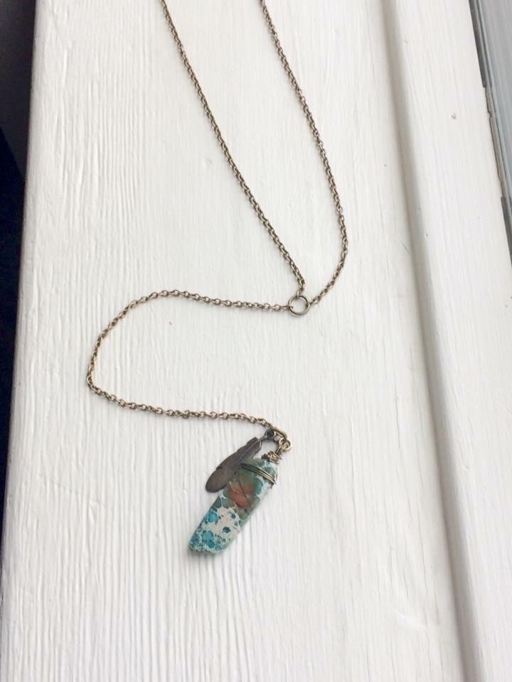 turquoise pendulum necklace $25 - hempbykayla | ello