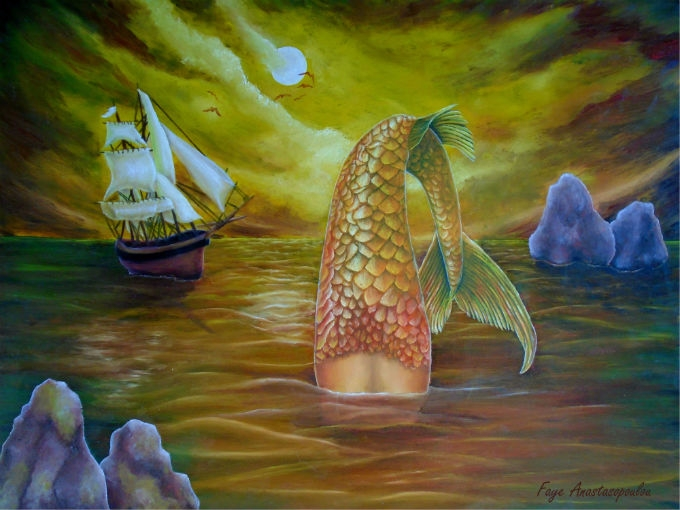 mermaid, seascape, fish, art - fayeanastasopoulou | ello