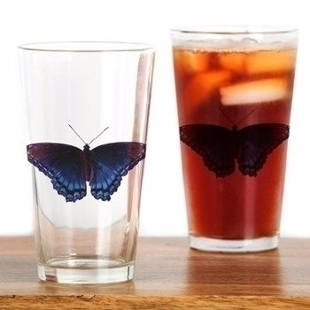 Blue Butterfly Pint Glass - BlueButterfly - futureimaging | ello