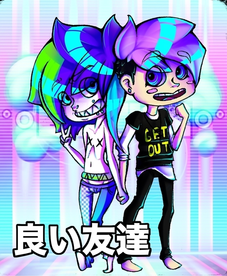 pair neon nerds - digitalart, chibi - ehxkor | ello