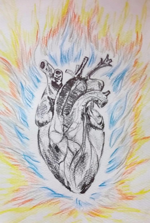 feel heart fire - pencil, grafito - rinamr   ello