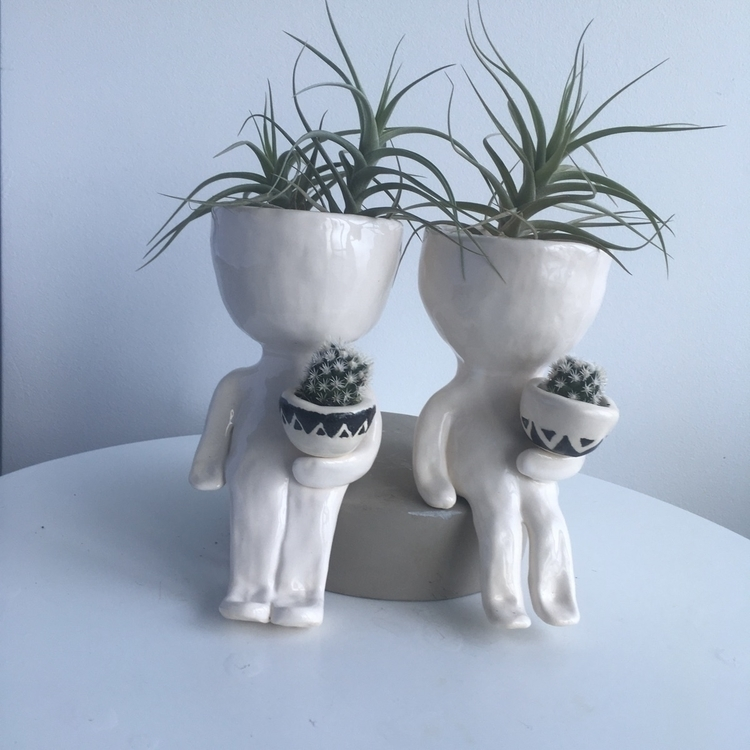 dude pots hanging - ceramics#pottery#littledudepot#livingdecortwins#airplants - livingdecortwins   ello