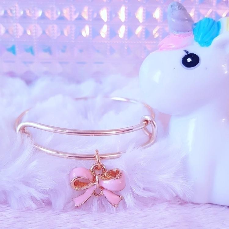 Pink Bow Charm Bracelet - pinkbutterflybella | ello