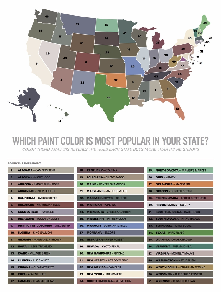 colors popularity state Behr Pa - ellofabfinds | ello