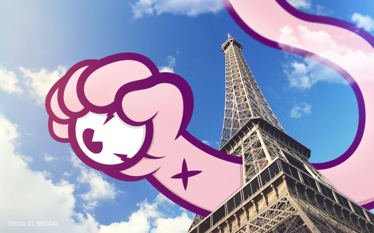 Handy visits Paris - gif, animation - redaelmraki | ello