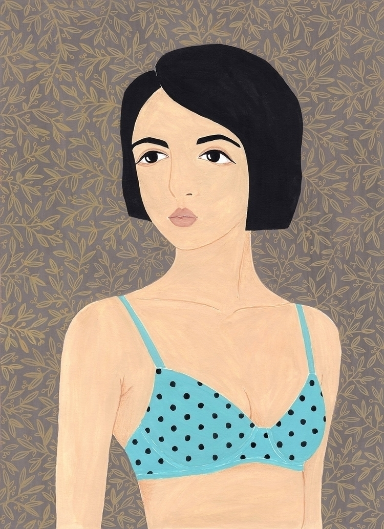Girl polka dot bra - Illustration - sashafishkin | ello