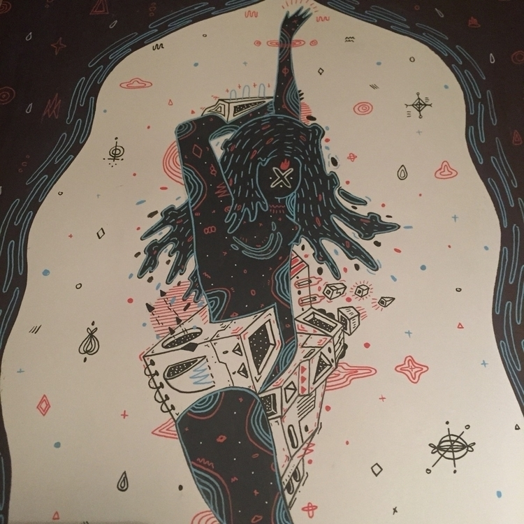 illustration, girl, blackandwhite - galekto   ello