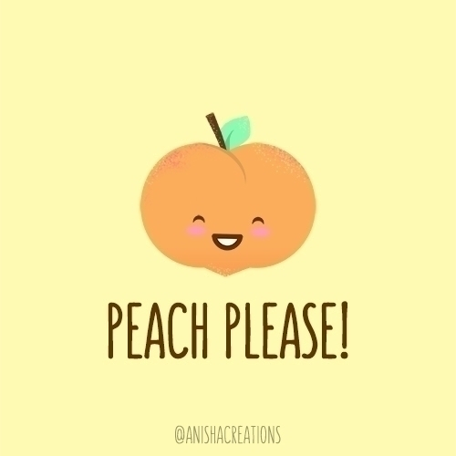 Peach funny - cute, illustration - anishacreations   ello