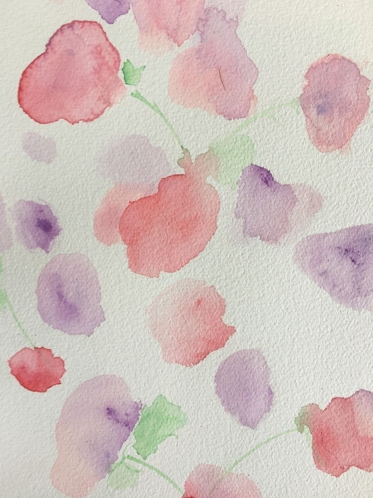 Sweet peas Tuesday - watercolour - kirrasmith | ello