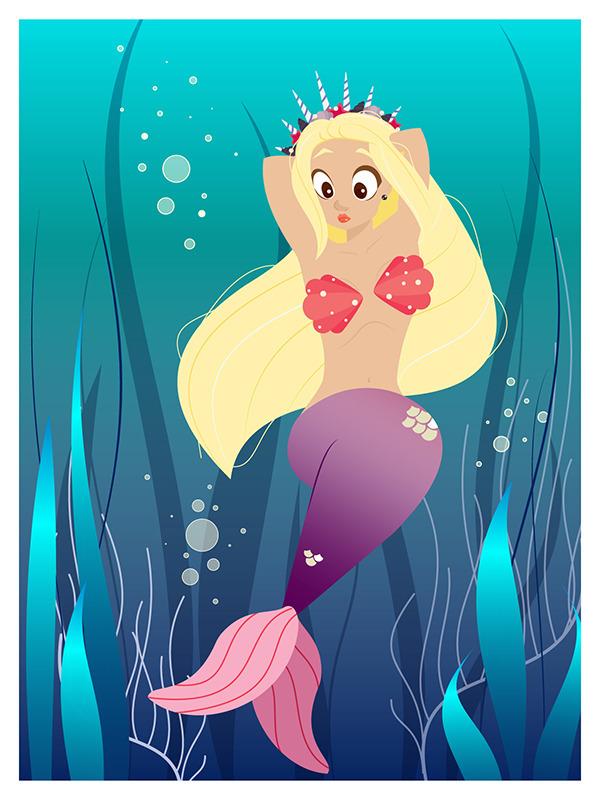 mermaid, drawing, card, sea, water - katarinashamova | ello