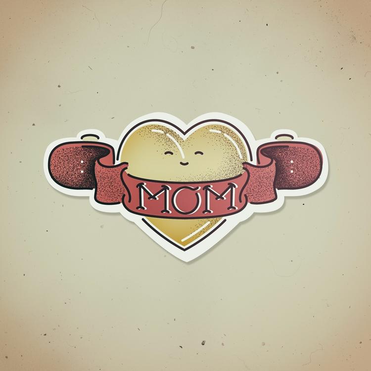 MOM - illustration, heart, skateboard - iampommes | ello