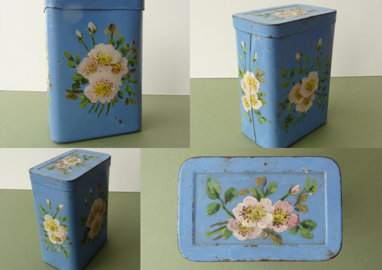 mustard tin painted Great Aunt  - firehorsetextiles | ello