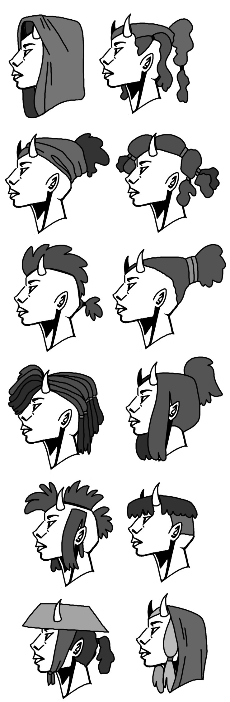 Doodled hair ideas yesterday - artwork - emkdraws | ello
