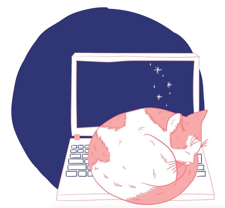 Sleepy kitty illustration 404 e - sarah___ | ello