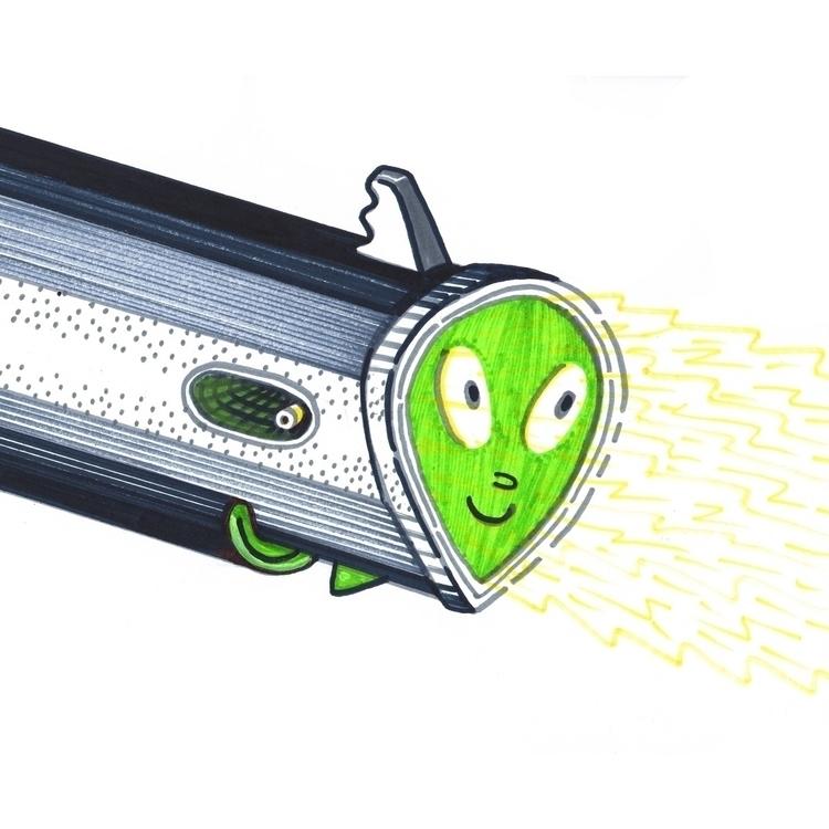 illustration, aliens, fun, guns - brendan-newell | ello