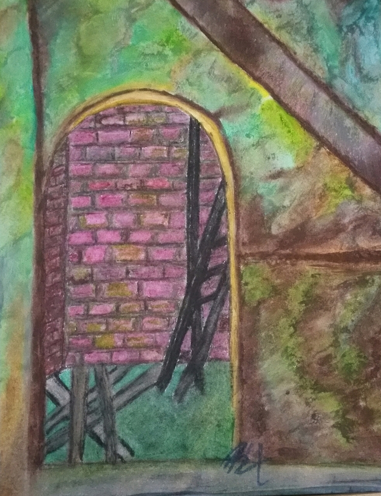 Abandonment, oil pastel drawing - totallytwistedfickity | ello