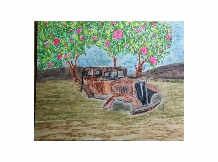 car, orchard oil pastel drawing - totallytwistedfickity | ello
