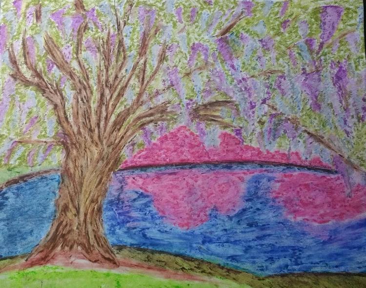 Wisteria covered tree Oil paste - totallytwistedfickity | ello