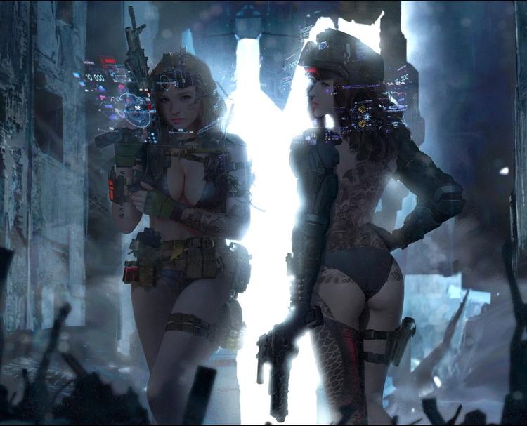 sexy, cyberpunk, scifi, girls - ukimalefu | ello