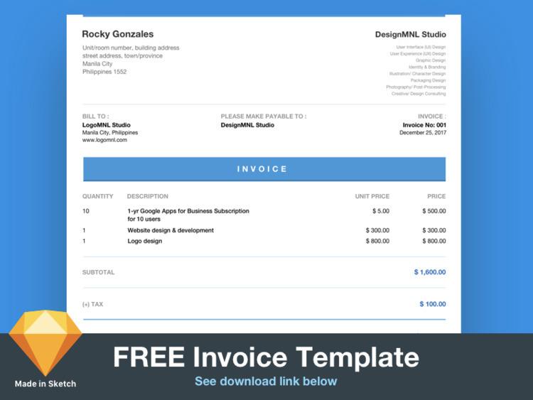FREE invoice template Sketch ap - designmnl | ello