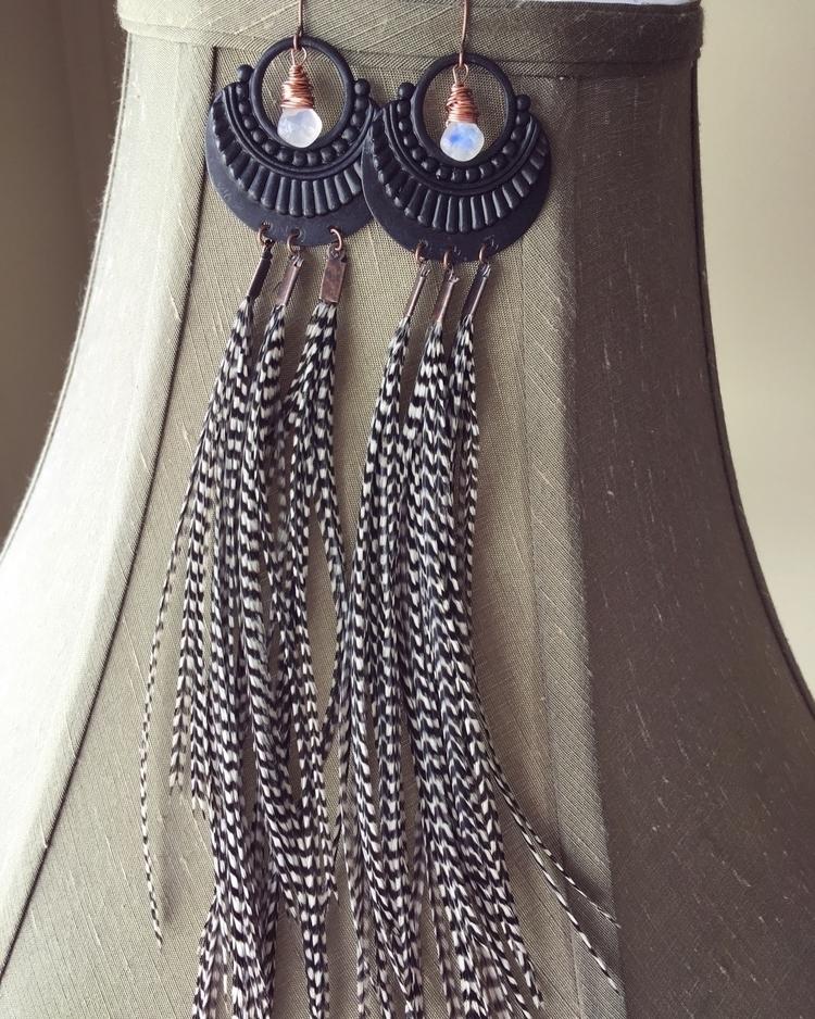 Black white striped feather ear - kookoomamadesign   ello
